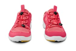 Red sneakers white background isolated closeup front view, pink sport sneaker shoes, pair of running gumshoes, two fabric and leather fitness boots, athletic footwear, fashion walking textile footgear