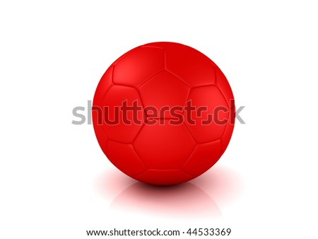 How To Kick A Soccer Ball High. stock photo : Red Soccer ball on white background. High resolution 3D image