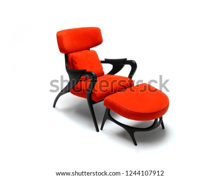 red sofa chair with foot rest  #1244107912