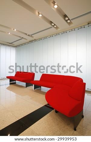red sofa in modern interior - stock photo