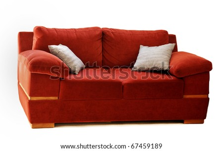 Red Sofa with two silver pillows