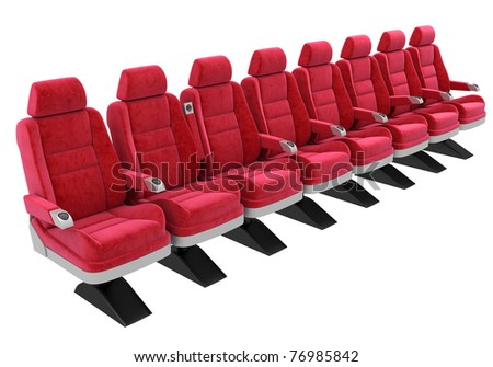 red soft chairs, standing in a row, isolated on white