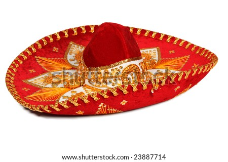 Red sombrero (traditional mexican hat) isolated on white