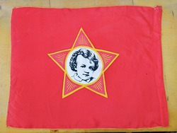 Red soviet flag with the image of young Lenin on the wooden background