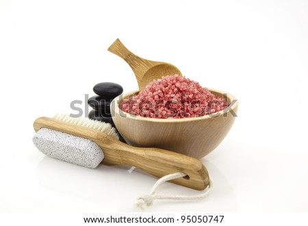 red spa salt on a white background - stock photo