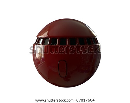 red space capsule isolated on white background