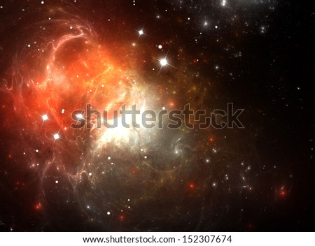 Stock Photo Red Space Nebula in Gas, Dust, and Stars (All art elements made by me)