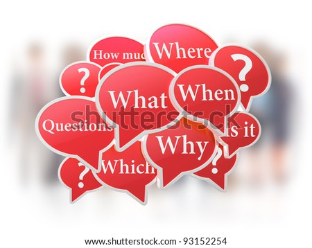 Red speech bubbles with questions