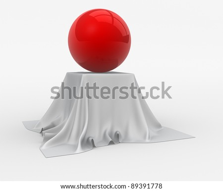 Red sphere sitting on table cloth. 3d render illustration - stock photo
