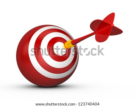 Red sphere target with white stripes and plastic dart arrow, isolated on white background. - stock photo