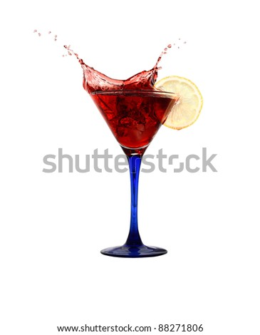 Red splashing cocktail isolated on white background with clipping path