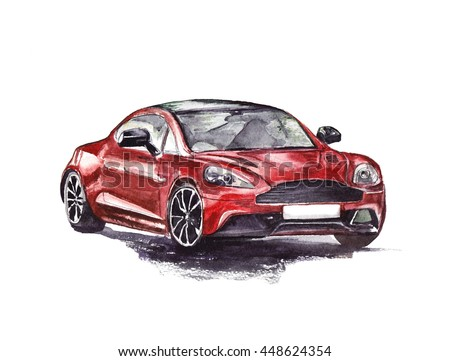 Red sport car. Original hand drawn watercolor painting.
