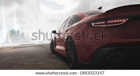 Red sports car - city street racer concept (non-existent car design, full generic), rear view, focus on taillights - 3d illustration, 3d render Stockfoto ©