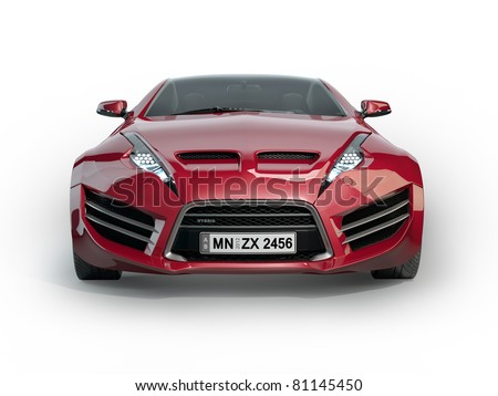 Red Sports Car Isolated On White Background. Non-Branded ...