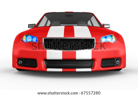 Red sports car isolated on white. No trademark issues as the car is my own design. This is a detailed 3D render.