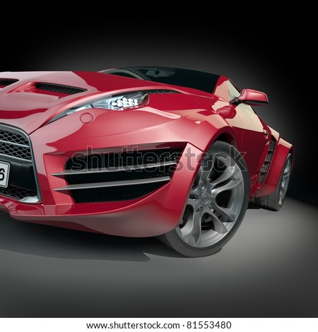 Red sports car. Non-branded concept car.