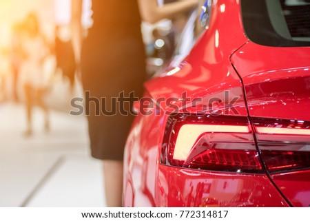 Red sports car rear lights #772314817