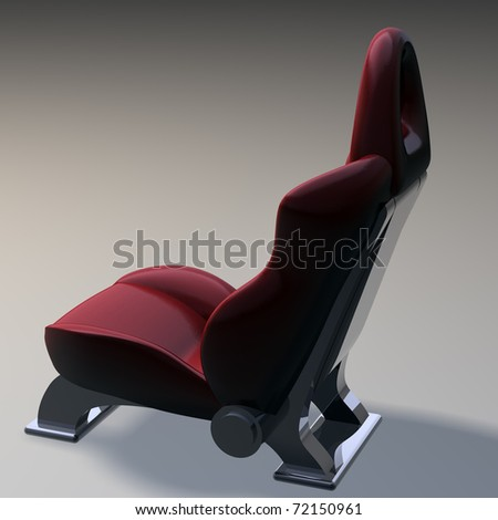 red sports car seats isolated on white background 3d