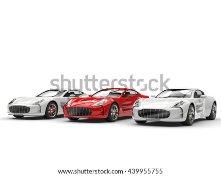 Red sports car stands out - 3D Illustration #439955755