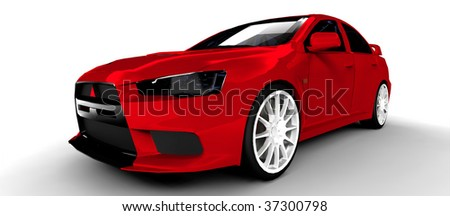 Red Sports Rally Car - Isolated on white