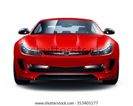 Red sporty car - front view