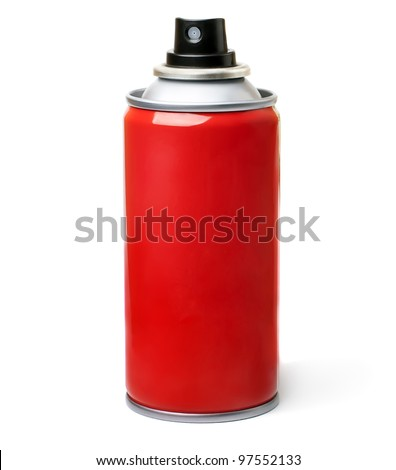 Red spray bottle,  isolated on white background.