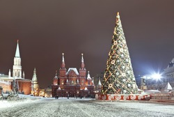 Red square during new year celebrations at night