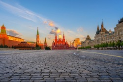 Red Square, Moscow Kremlin and State Historical Museum in Moscow, Russia. Architecture and landmarks of Moscow.