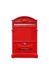 Red square post box in isolated white background