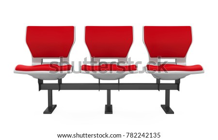 Red Stadium Seats Isolated. 3D rendering
