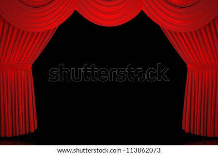 Red Stage Curtain - High quality render