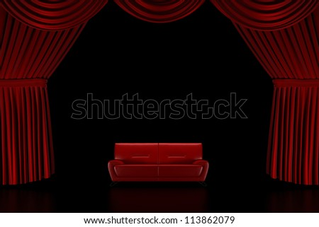 Red Stage curtain with sofa - render