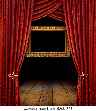 Red stage curtains reveal golden frame and old wooden floor