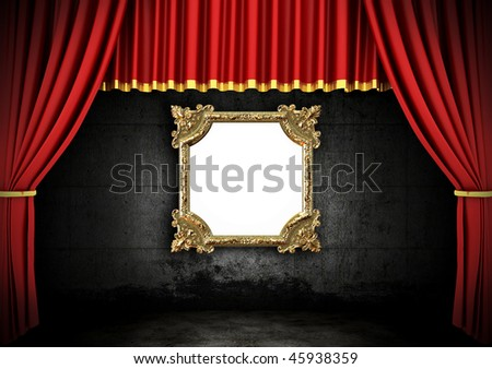 Red Stage Theater Drapes and Golden frame in a dark room