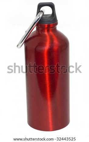 Red stainless steel metal water bottle with clip