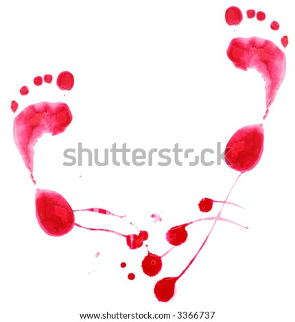 Red stains and footprint