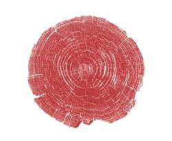 Red stamp of wood texture of tree rings from a slice of log. Contrast negative monotone image of cut tree.