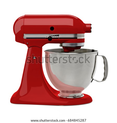 Red stand mixer on white background including clipping path. - Shutterstock ID 684845287