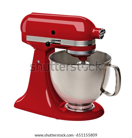Red Stand or kitchen Mixer With Clipping Path Isolated On White Background