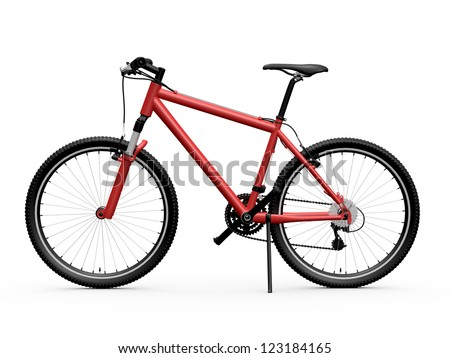 Red standing mountain bicycle, isolated on white background.