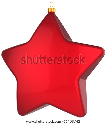 Red star Christmas ball New Year's Eve bauble blank traditional wintertime holidays adornment decoration. Merry Xmas communism souvenir toy concept. 3d render isolated on white background