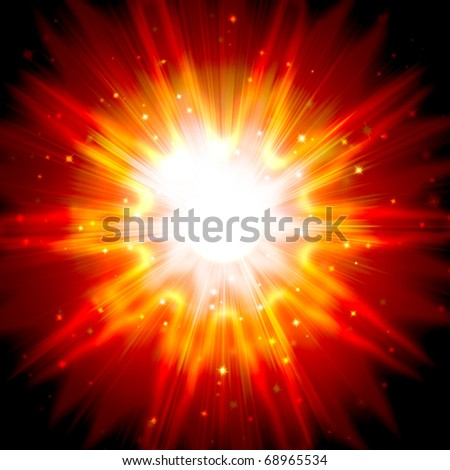 red star flash, on a dark background