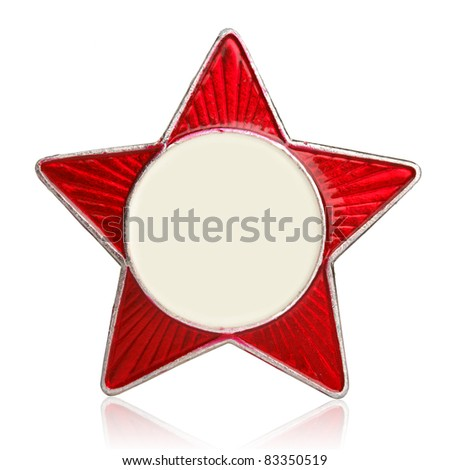 Red star metal sign isolated on white