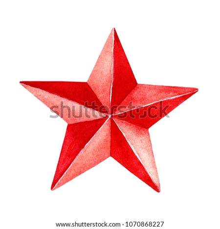 red star painting. five pointed ...