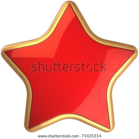 Red star shape rating symbol scarlet with golden border. Champion winner symbol. This is a detailed render 3d cgi (Hi-Res). Isolated on white background