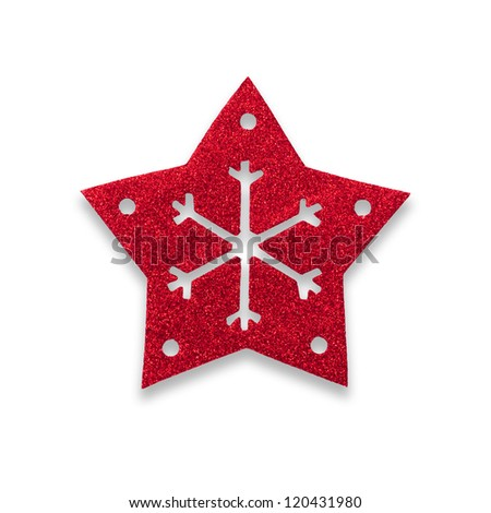 Red star snow flake Christmas tree topper.