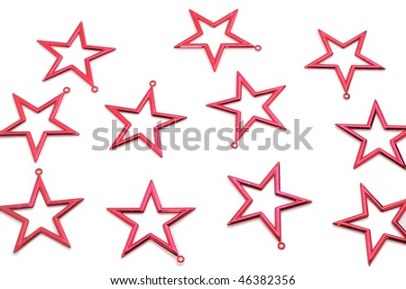 red stars isolated on white background - stock photo