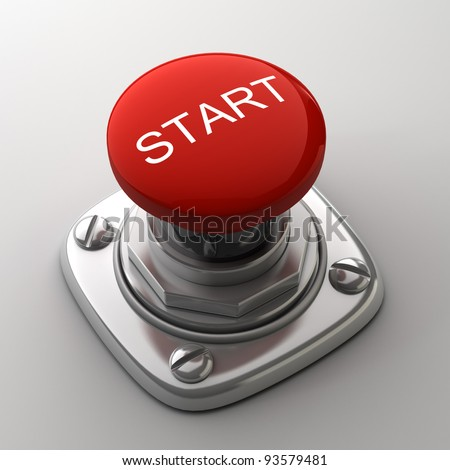 Red START  button High resolution. 3D image
