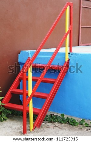 red steel stair - stock photo