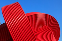 Red steel tube sculpture